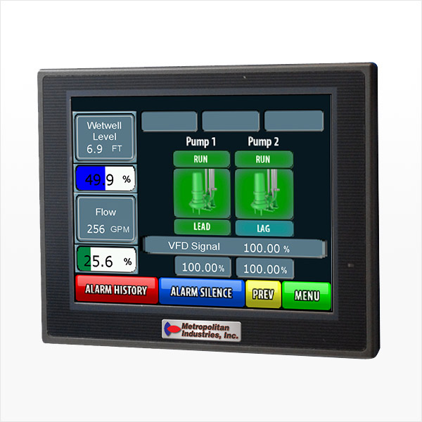 MetroCloud LMS Jr. Commercial Building Lift Station SCADA Controller Screen with VFD Information