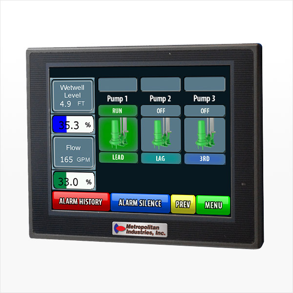 MetroCloud LMS II Lift Station SCADA Controller Menu Screen with no VFD