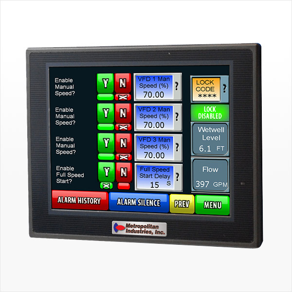 MetroCloud LMS II Lift Station SCADA Controller Menu Screen with VFD Speed Setpoints