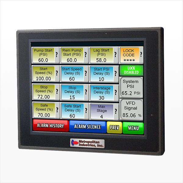 MetroCloud MetroTech3 Pro Booster Pump Control for Municipalities Showing Setpoints on Menu
